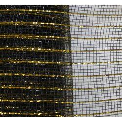 21in x 30ft Sinamay Metallic Black/ Gold Color Mesh Ribbon/ Netting