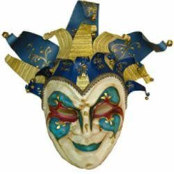 Wall Masks: Blue Paper Mache Jester with Hat