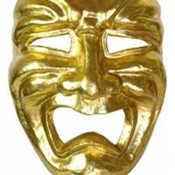 Jumbo Masks: Gold Paper Mache Tragedy Venetian