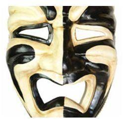 Jumbo Masks: Black and Gold Paper Mache Tragedy Venetian