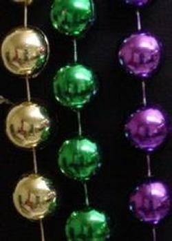 60in 16mm Round Metallic Purple/ Green/ Gold Beads