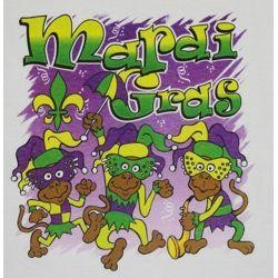 Mardi Gras Long Sleeve T-Shirt w/ Glittered Monkeys Design Medium Size