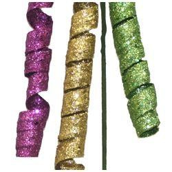 Purple Green and Gold Glittered Hanging Curly Spray