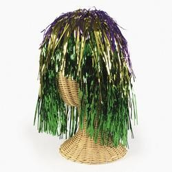 Metallic Purple/ Green/ Gold Tinsel Foil Wig