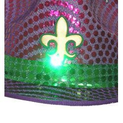 11in Long x 9in Wide Mardi Gras/Fedora LED Light-up Hat w/ Fleur-De-Lis Design