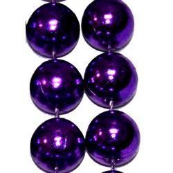 14mm 48in Metallic Purple Beads