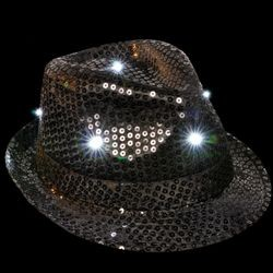 9in Wide x 11in Long x 5in Tall Black/Fedora LED Light-up Hat