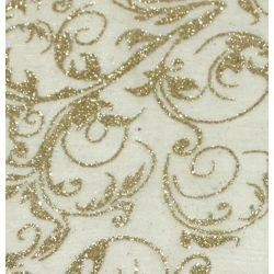 25in x 3Y Le Sheer Gold Leaf Swirl Glitter Material