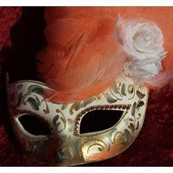 Orange and Gold Venetian Masquerade Mask with Ostrich and Capon Feathers