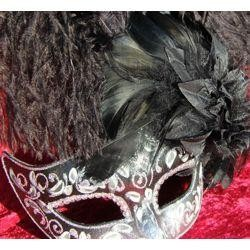 Luxury black and silver masquerade mask with ostrich and capon feathers. Made in Venice, Italy