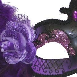 Venetian Masks: Purple and Black Mask with Purple Ostrich Plume and Rose
