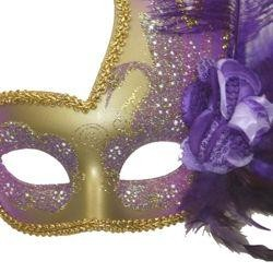 Purple and Gold Venetian Masquerade Mask with Purple Feathers and Flower on the Side