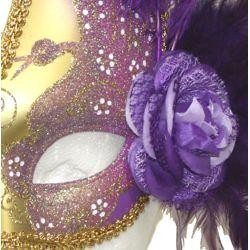 Purple and Gold Venetian Masquerade Mask with Purple Feathers and Flower