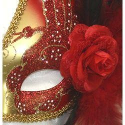 Red and Gold Venetian Masquerade Mask with Black and Red Feathers and Flower