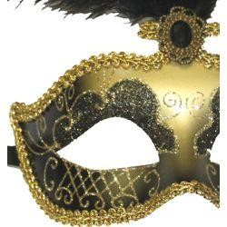 Black Venetian Masquerade Mask with Black Small Ostrich Feathers