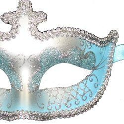 Light Blue and Silver Hand Painted Venetian Masquerade Mask With Glittery Scrollwork