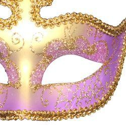 Purple and Gold Hand Painted Venetian Masquerade Mask With Glittery Scrollwork