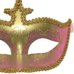 Pink and Gold Hand Painted Venetian Masquerade Mask With Metallic Fabric And With Glittery Scrollwor