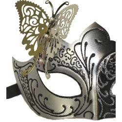 Venetian Black and Silver Eye Masquerade Mask with Glitter Accents and Butterfly