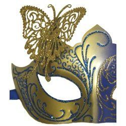 Venetian Blue and Gold Eye Masquerade Mask with Glitter Accents and a Butterfly