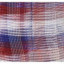 21in x 30ft Sinamay Metallic Red/ White/ Blue Mesh Ribbon/ Netting