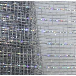 21in x 30ft Sinamay Metallic Silver Mesh Ribbon/ Netting