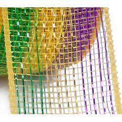 2.5in x 75ft Sinamay Metallic Purple/ Green/ Gold Mesh Ribbon/ Netting