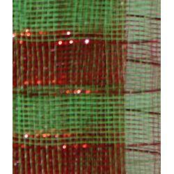 21in x 30ft Plaid Metallic Red/ Green Mesh Ribbon/ Netting