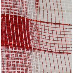 21in x 30ft Plaid Metallic Red/ White Mesh Ribbon/ Netting