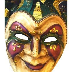 Mardi Gras Jester Paper Mache Venetian Big Mask With Hat Piece, With Music Bar Designs, And With Bells Mask