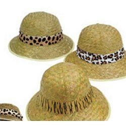 24in circ. Adult Straw Pith Hats With Animal Print Band
