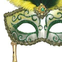 Gold and Green Venetian Feather Masquerade Mask On A Stick with Large Yellow Ostrich Feathers and Gl