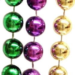 22mm 72in Metallic Purple, Green, and Gold Beads