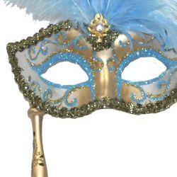 Gold and Light Blue Venetian Feather Masquerade Mask On A Stick with Large Light Blue Ostrich Feathers