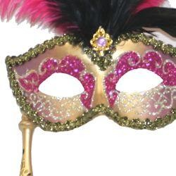 Gold and Hot Pink Venetian Feather Masquerade Mask on a Stick with Large Hot Pink Ostrich Feathers