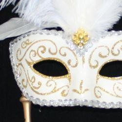 Gold and White Venetian Feather Masquerade Mask On A Stick with Large Light Purple Ostrich Feathers