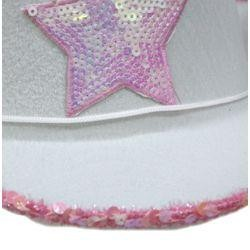 6in Tall White Felt Cowgirl Hat w/ Pink Star