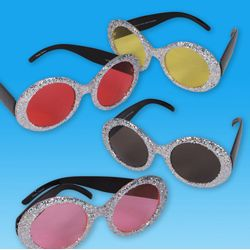 6in Assorted Colors Popstar Glitter Sunglasses
