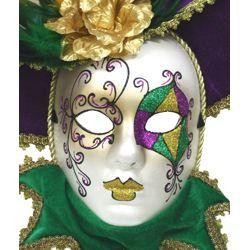 Purple, Green and Gold Hand Painted Full Face Venetian Masquerade Mask with Feathers