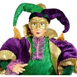 4ft Tall x 21in Wide Jumbo Mardi Gras Sitting Jester Doll