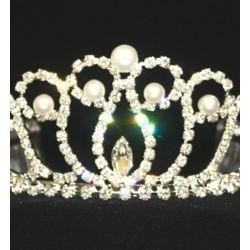 Rhinestone Metal Tiara with Pearls
