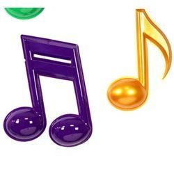 7 Piece 7in-13in-22in Purple/ Green/ Gold Plastic Musical Notes
