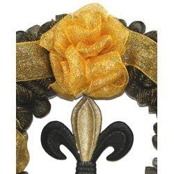 36in Black and Gold Mesh Ribbon Wreath