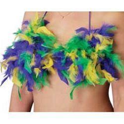 Mardi Gras Feathered Bikini Top