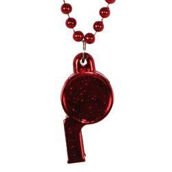 6mm 40in Red Beads with Whistle