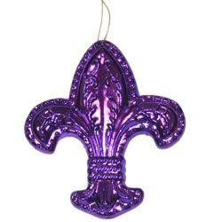 2in Wide x 2 1/2in Tall Metallic Purple/ Green/ Gold Fleur-De-Lis Ornament