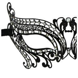 Venetian Metal Black Laser-Cut Eye Masquerade Mask with Rhinestones