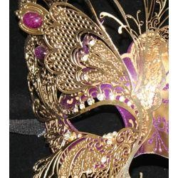 Purple Venetian Hand Painted Papier Mache Masquerade Mask with Gold Metal Laser Cut and Crystals on