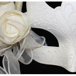 White Venetian Masquerade Mask with Glittery Scrollwork and Pearls and with Light Beige Flowers and Long Ribbon Lace