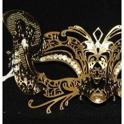 Venetian Metal Laser-Cut Gold Masquerade Mask with Rhinestones